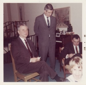 Don Hershey with sons, Bob and Ken Hershey and granddaughter Karen at Bob Hershey's home at 1807 Clark Road during a Hershey Christmas gathering in 1968.