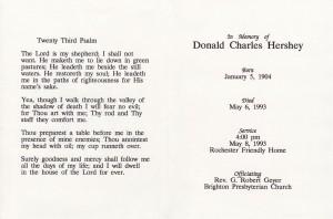 Don Hershey Memorium Card Inside