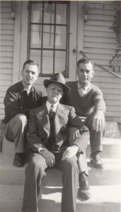 Don, Dan (Don's Dad) and Lincoln (Don's brother) in the fall of 1946 or 1947 at Hodap Ave., Dayton, the Dan Hershey home, back steps. Don & Gladys went to Dayton each early Nov. to celebrate Don's parents, Dan & Sadie's anniversary.