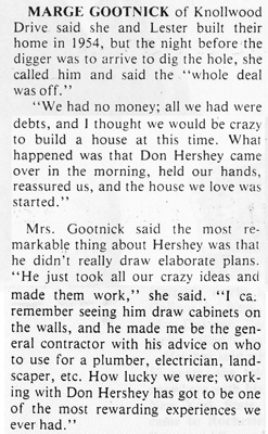 Marge Gootnick, the original owner of a Hershey home on Knollwood Drive