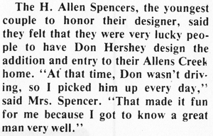 H. Allen and Suzy Spencer- Original Owners of a Hershey Home on Allens Creek Road