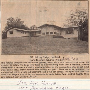 Clipping from Hershey's late 1970's notebooks announcing an open house at 57 Hickory Ridge