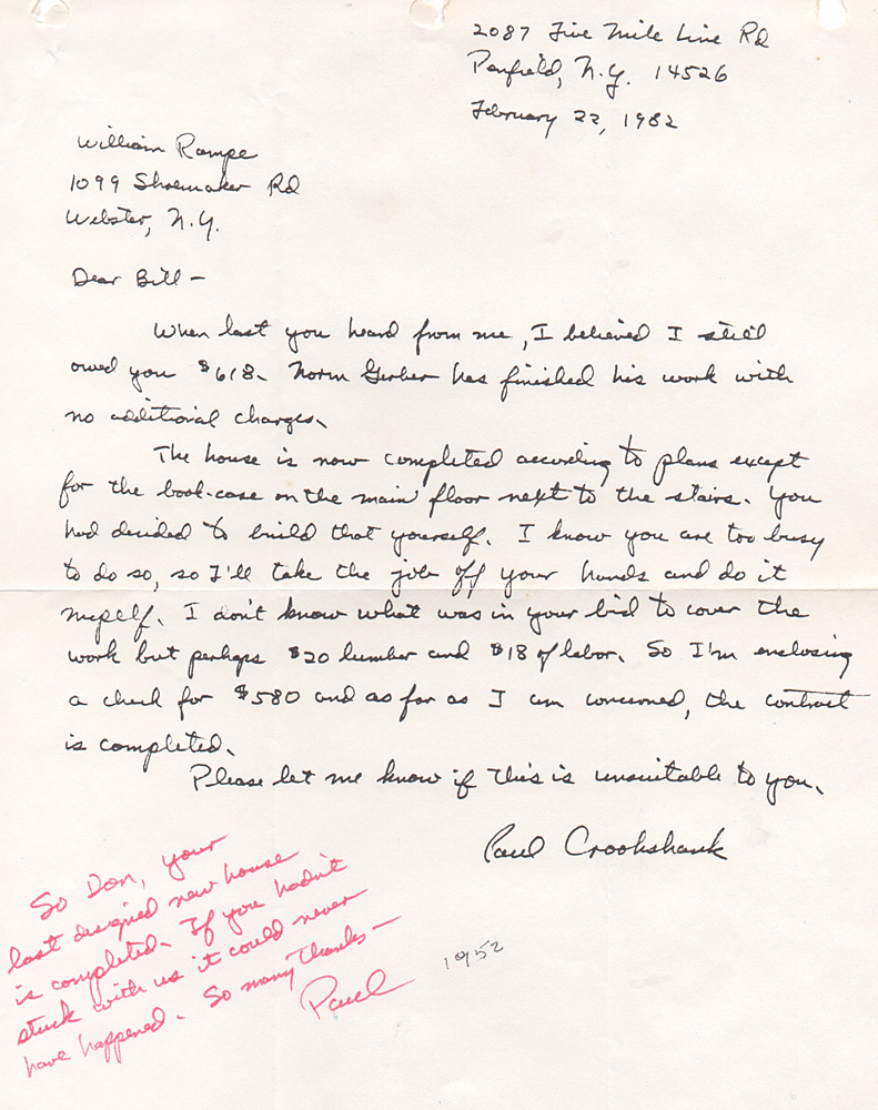 Letter from Paul Crookshank to Don