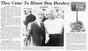 They Came to Honor Hershey-Brighton-Pittsford Post article, 11-21-84