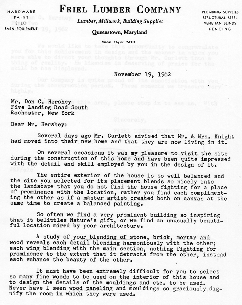 Friel Lumber Letter Regarding Mr And Mrs Luther Knight S Hershey Home In Queenstown Maryland