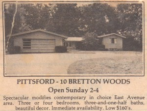 Clipping from Hershey's notebooks in the late 70's announcing an open house at 10 Bretton Woods Drive